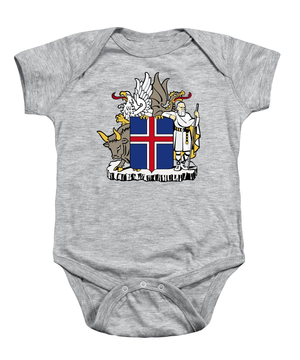 Iceland Baby Onesie featuring the drawing Iceland Coat Of Arms by Movie Poster Prints