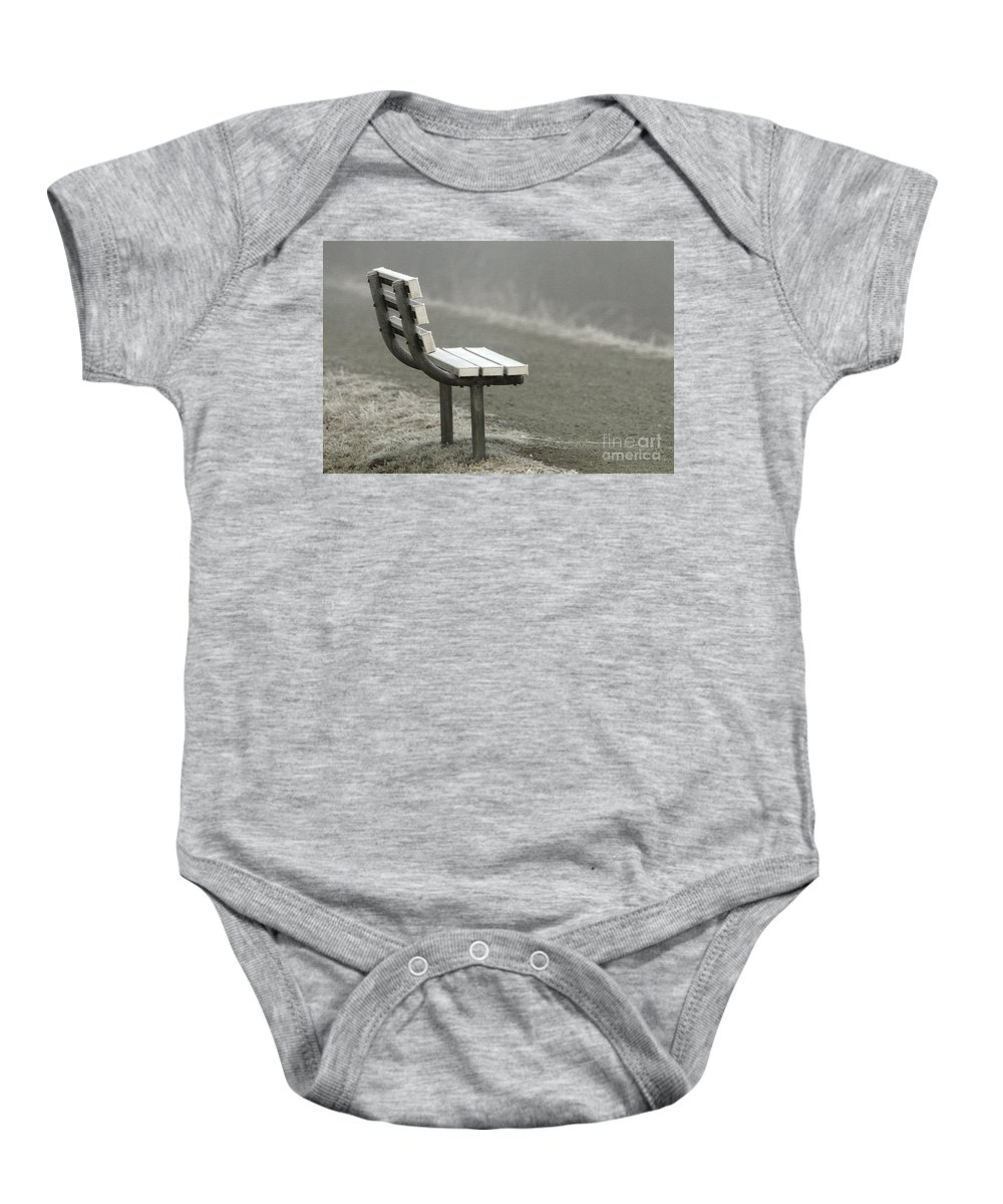 Bench Baby Onesie featuring the photograph Icy Bench In The Fog by Sharon Talson