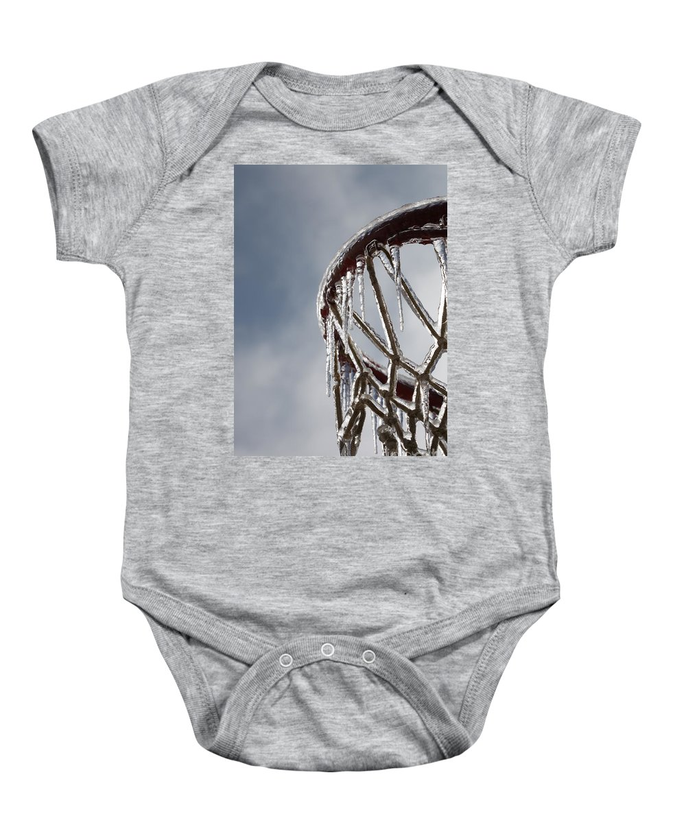Basketball Baby Onesie featuring the photograph Icy Hoops by Nadine Rippelmeyer