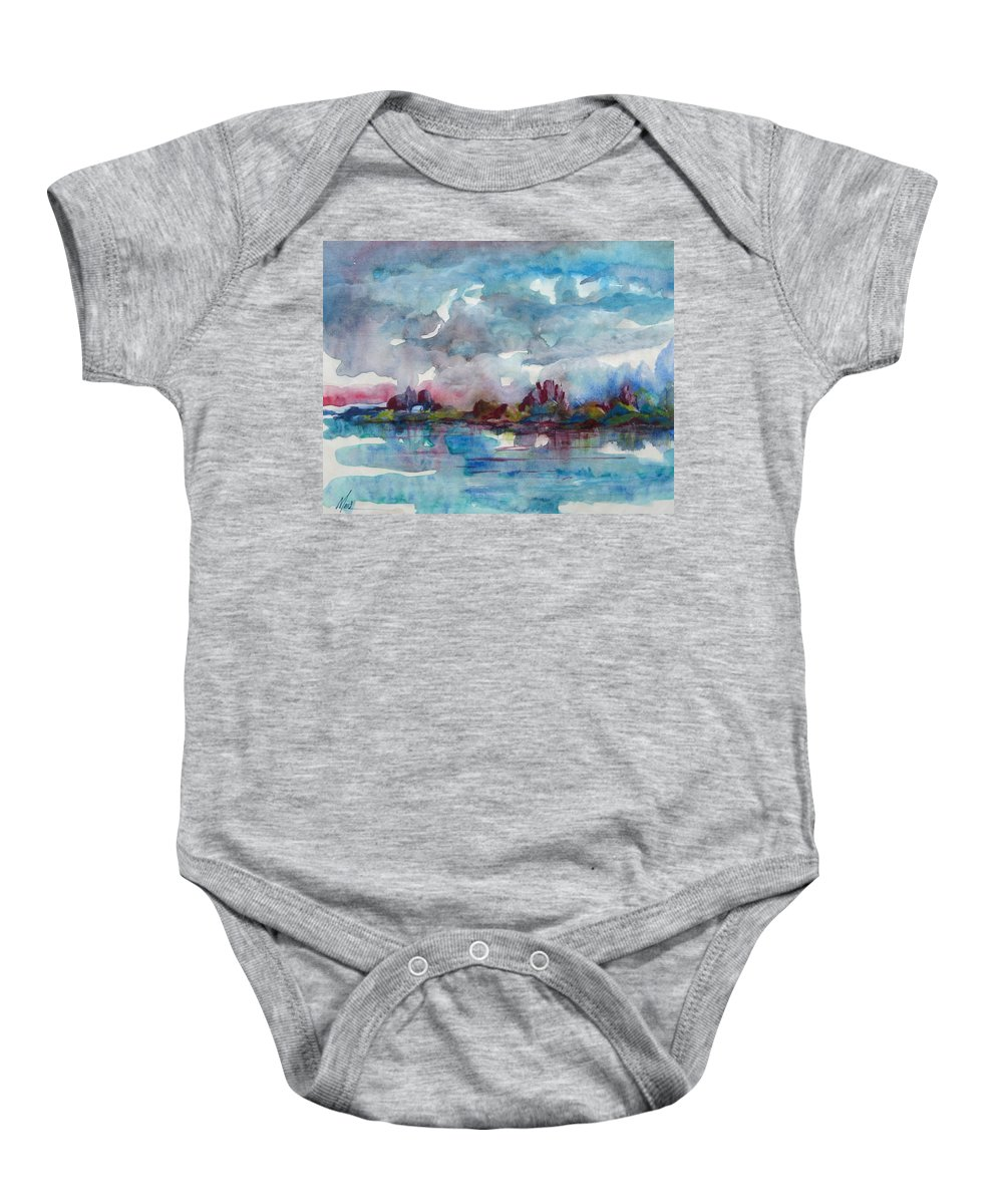 Cool Baby Onesie featuring the painting Icy Lake by Melody Horton Karandjeff