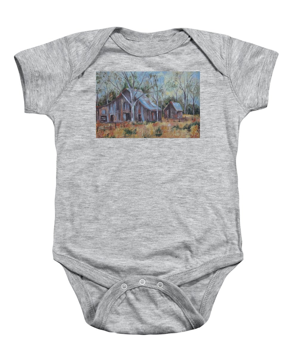 Barns Baby Onesie featuring the painting If They Could Speak by Ginger Concepcion
