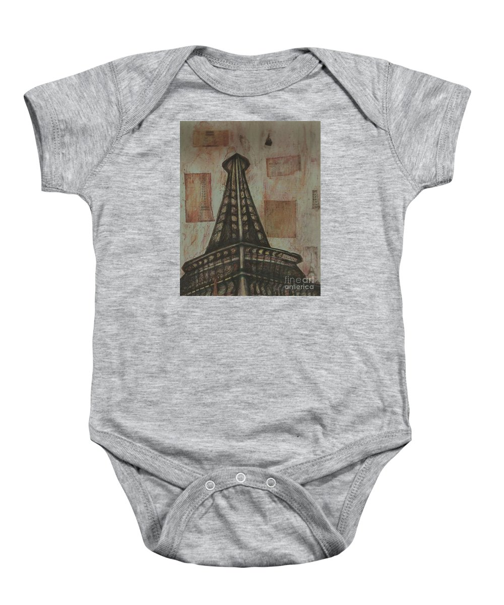 Structures Baby Onesie featuring the painting Iffel Tower by Sidra Myers