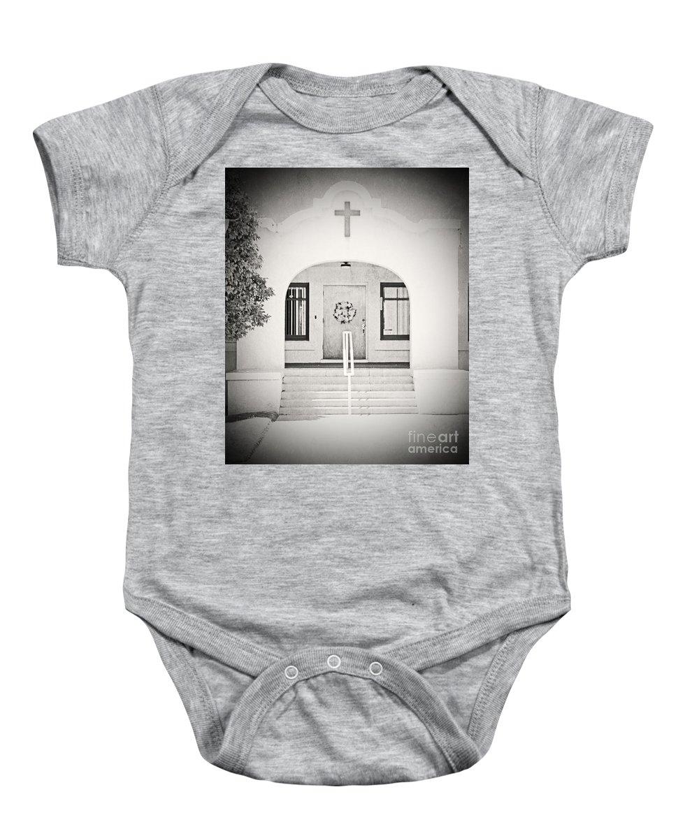 Black & White Baby Onesie featuring the photograph Iglesia Encantada by Edmund Mazzola