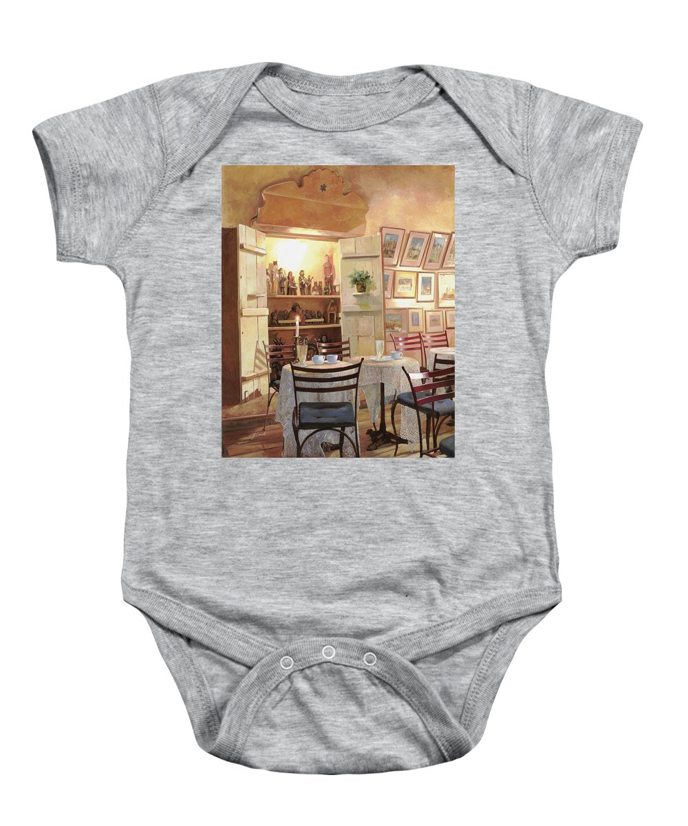 Cafe Baby Onesie featuring the painting Il Caffe Dell'armadio by Guido Borelli
