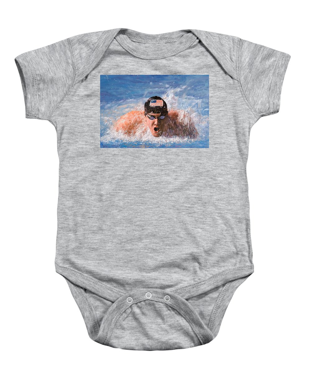 Swim Baby Onesie featuring the painting Il Nuotatore by Guido Borelli
