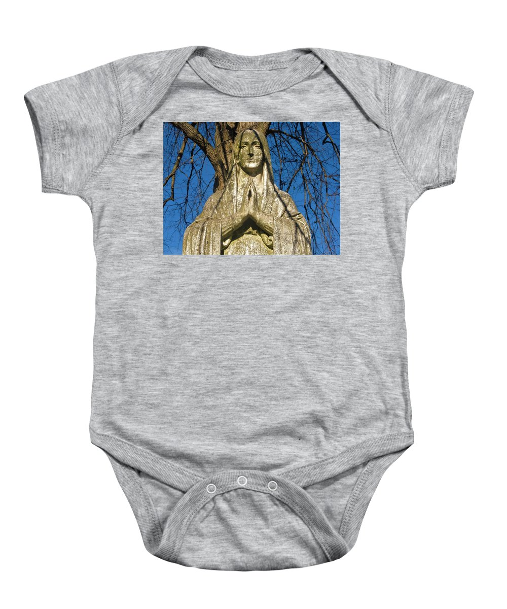 Hail Mary Jesus Mary And Joseph Queen Angel Maria Marry Stone Statue In A Cemetery Montclair Nutley Belleville Bloomfield Clifton Trees Age Moss Baby Onesie featuring the photograph I'll Just Blend In - Hail Mary by Gennaro Lombardi