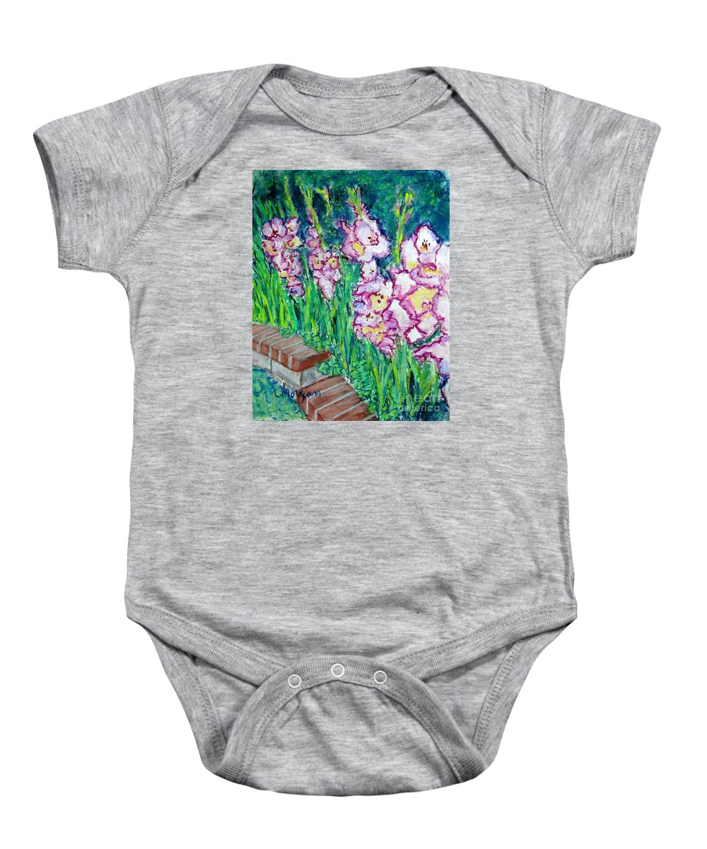 Gladioli Baby Onesie featuring the painting I'm So Glad by Laurie Morgan