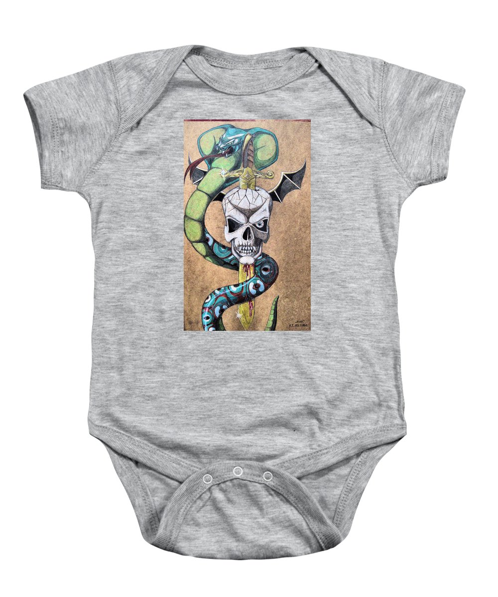 Cobra Baby Onesie featuring the drawing imaginative Simbol by Alban Dizdari
