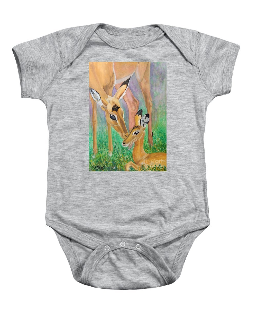 Deer Baby Onesie featuring the painting Impala Doe And Fawn by Caroline Street