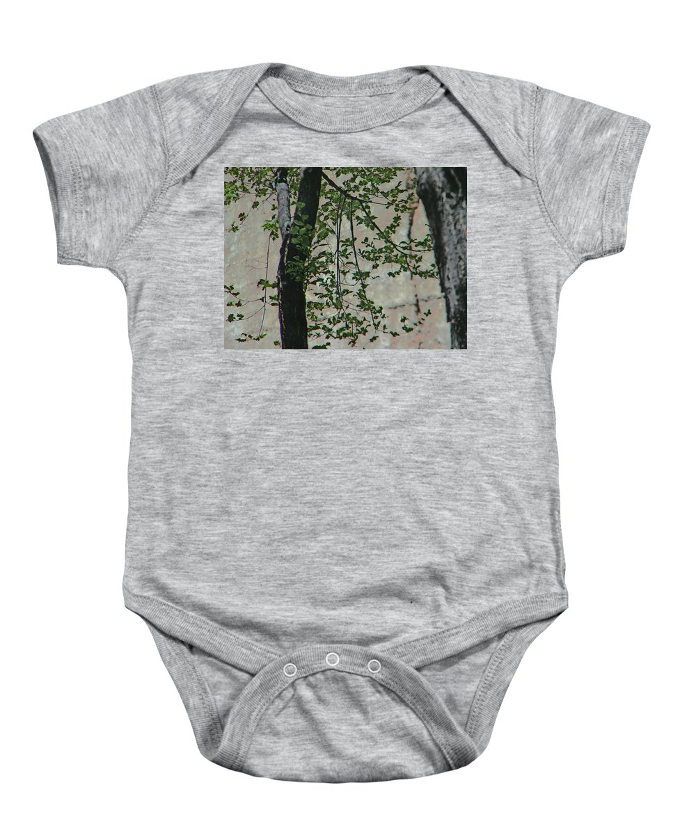 Abstract Baby Onesie featuring the photograph Impression Of Wall And Trees by Lenore Senior