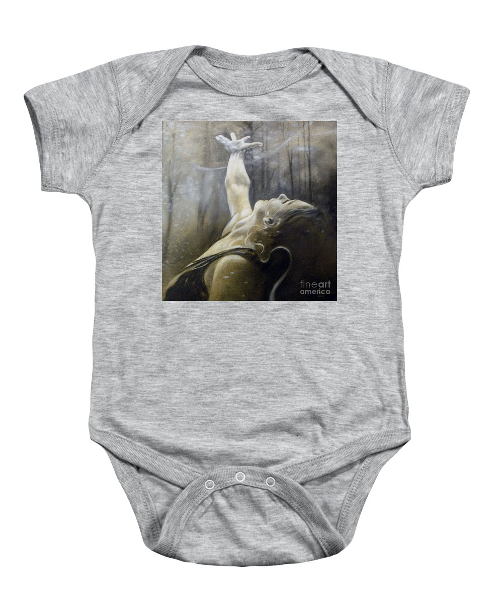 Spitfire Baby Onesie featuring the painting In Awe by Riek Jonker