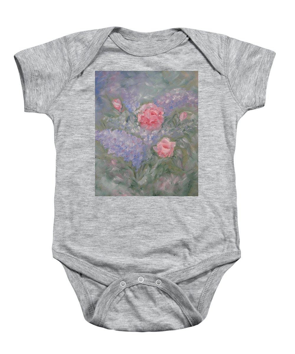 Flowers Baby Onesie featuring the painting In Bloom by Carrie Mayotte