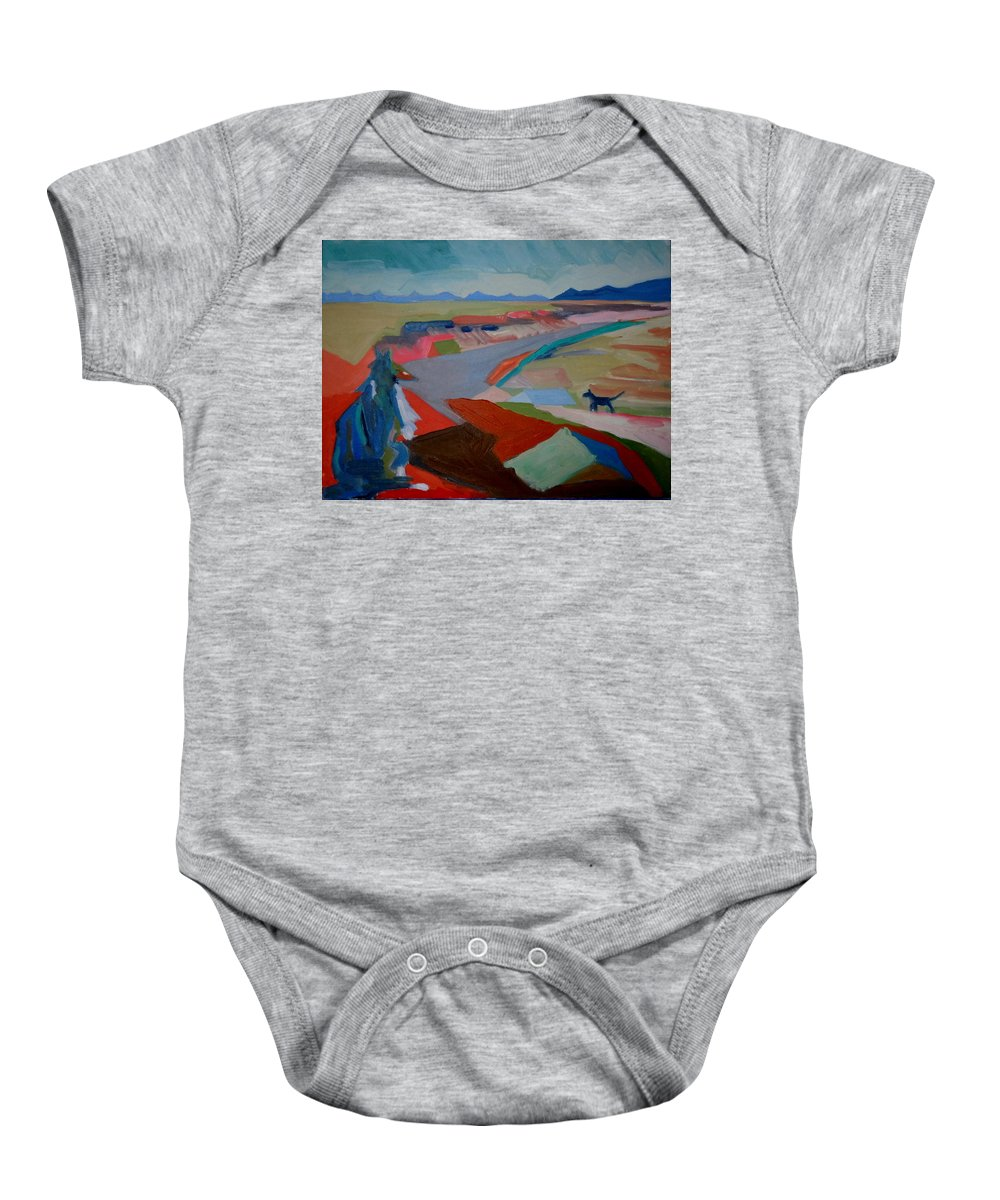 Abstract Baby Onesie featuring the painting In My Land by Francine Frank