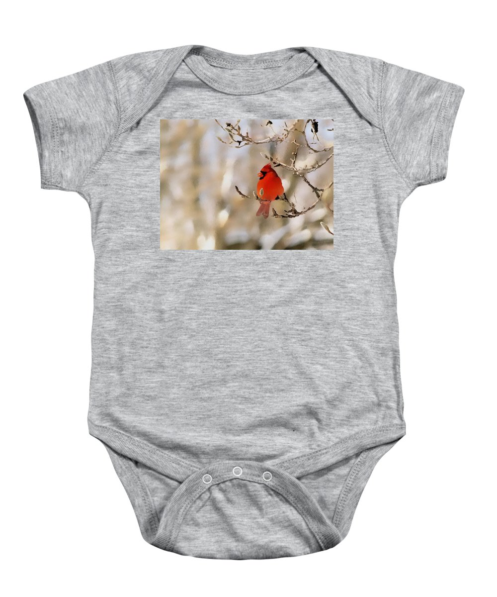 Cardinal Baby Onesie featuring the photograph In Red by Gaby Swanson