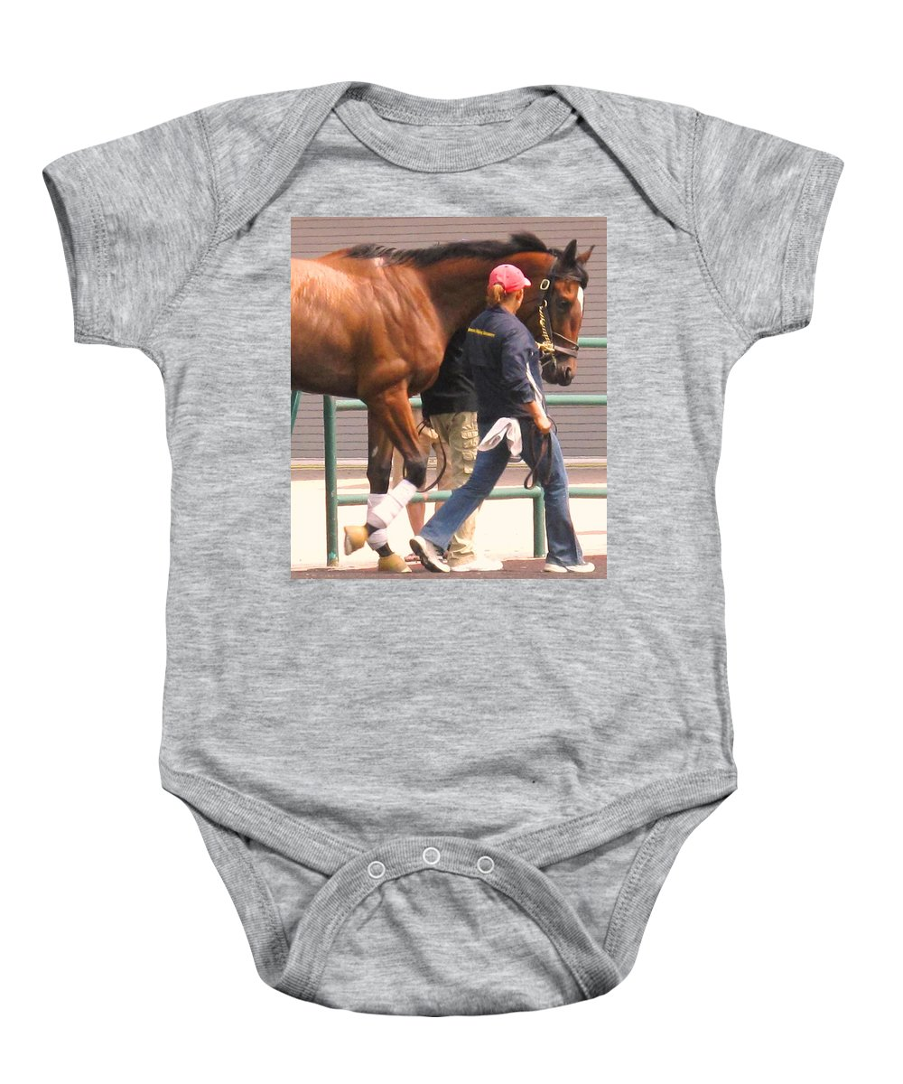 Jockey Baby Onesie featuring the photograph In Step by Ian MacDonald