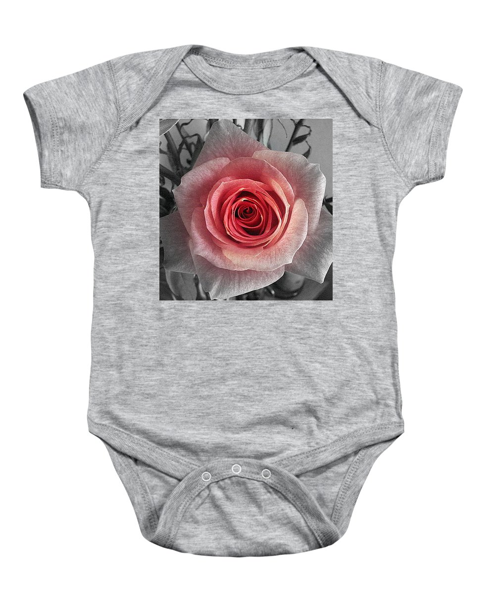 Rose Red Blackandwhite Baby Onesie featuring the photograph In The Center by Luciana Seymour