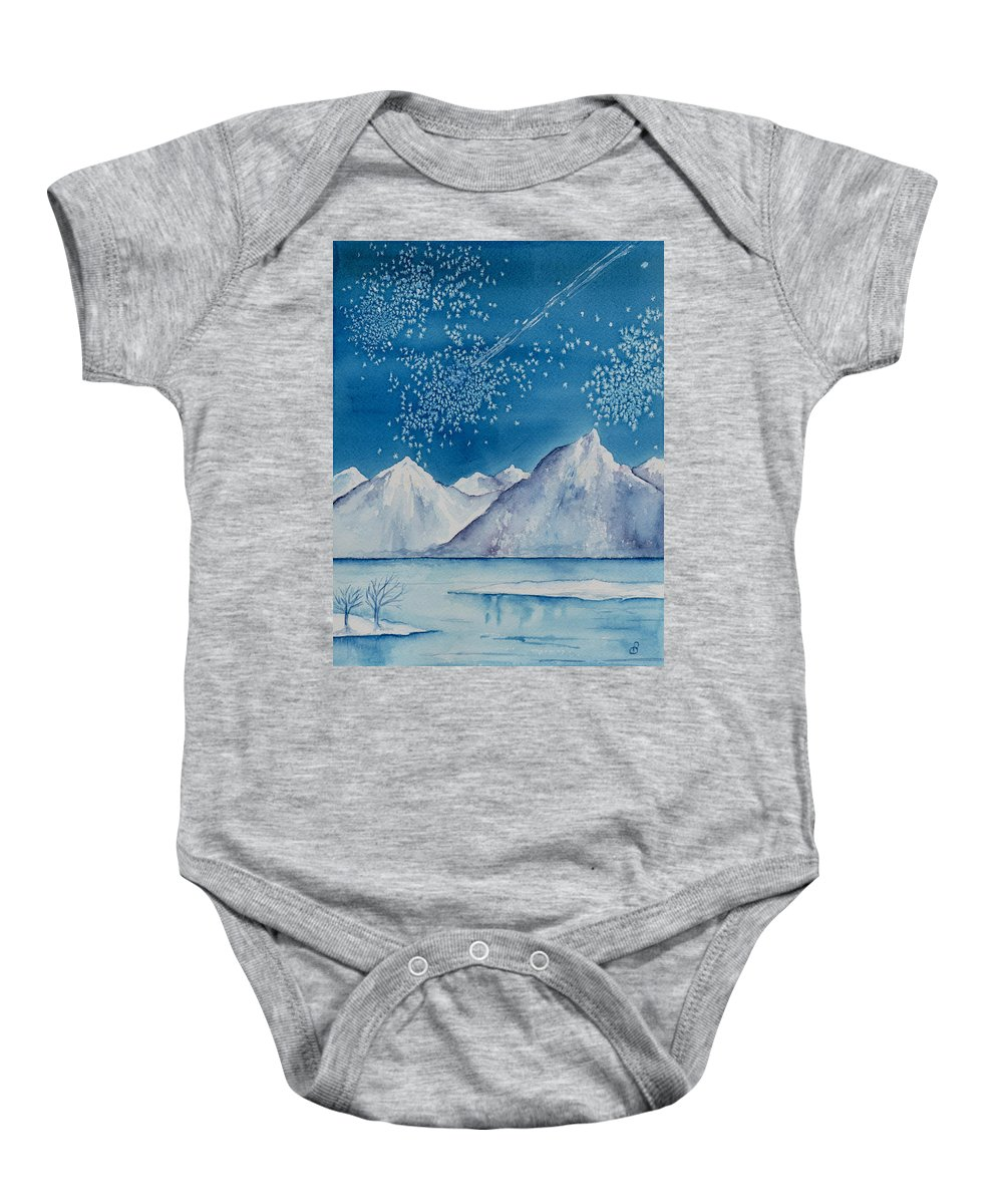 Watercol.or Scenery Landscape Fantasy Ice Snow Cold Winter Mountains Frozen Baby Onesie featuring the painting In The Far North by Brenda Owen