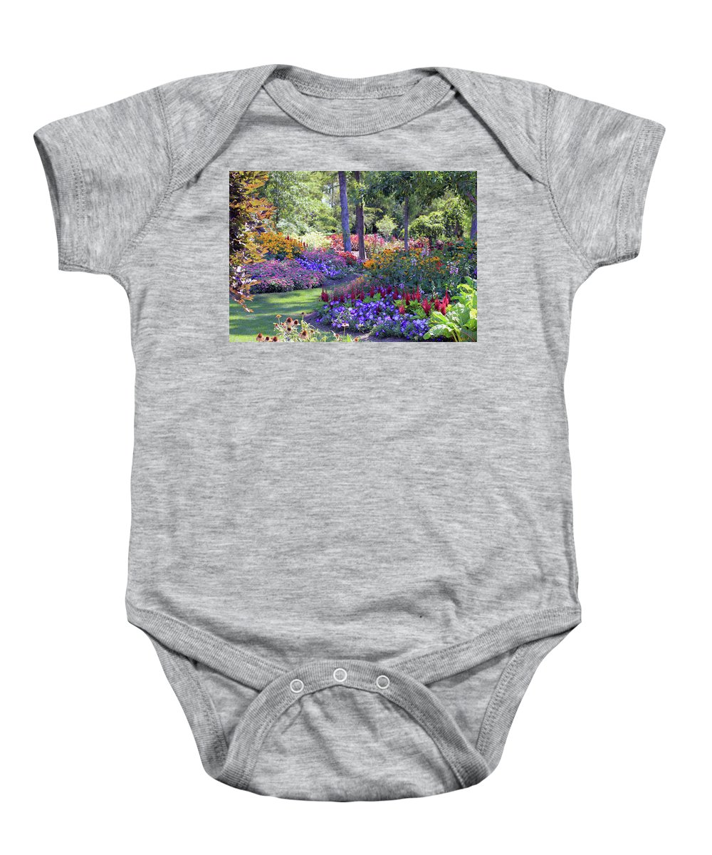 Gardens Baby Onesie featuring the photograph In The Garden by Marsha Mood