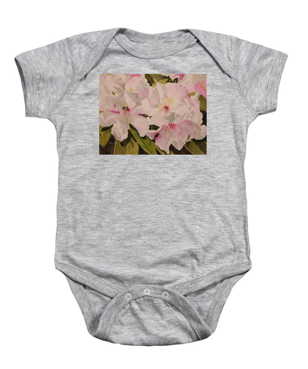 Pink Baby Onesie featuring the painting In The Pink by Jean Blackmer