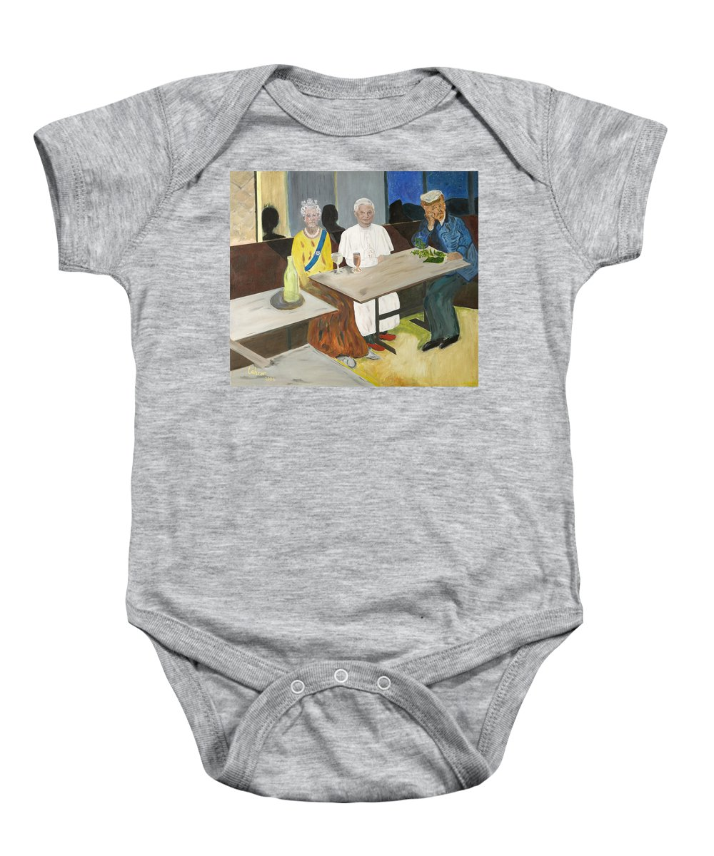 Pub Baby Onesie featuring the painting In The Pub by Avi Lehrer