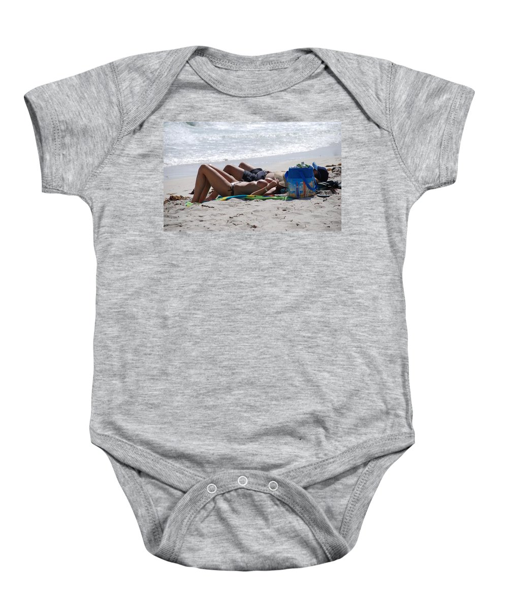 Nude Baby Onesie featuring the photograph In The Sand At Paradise Beach by Rob Hans