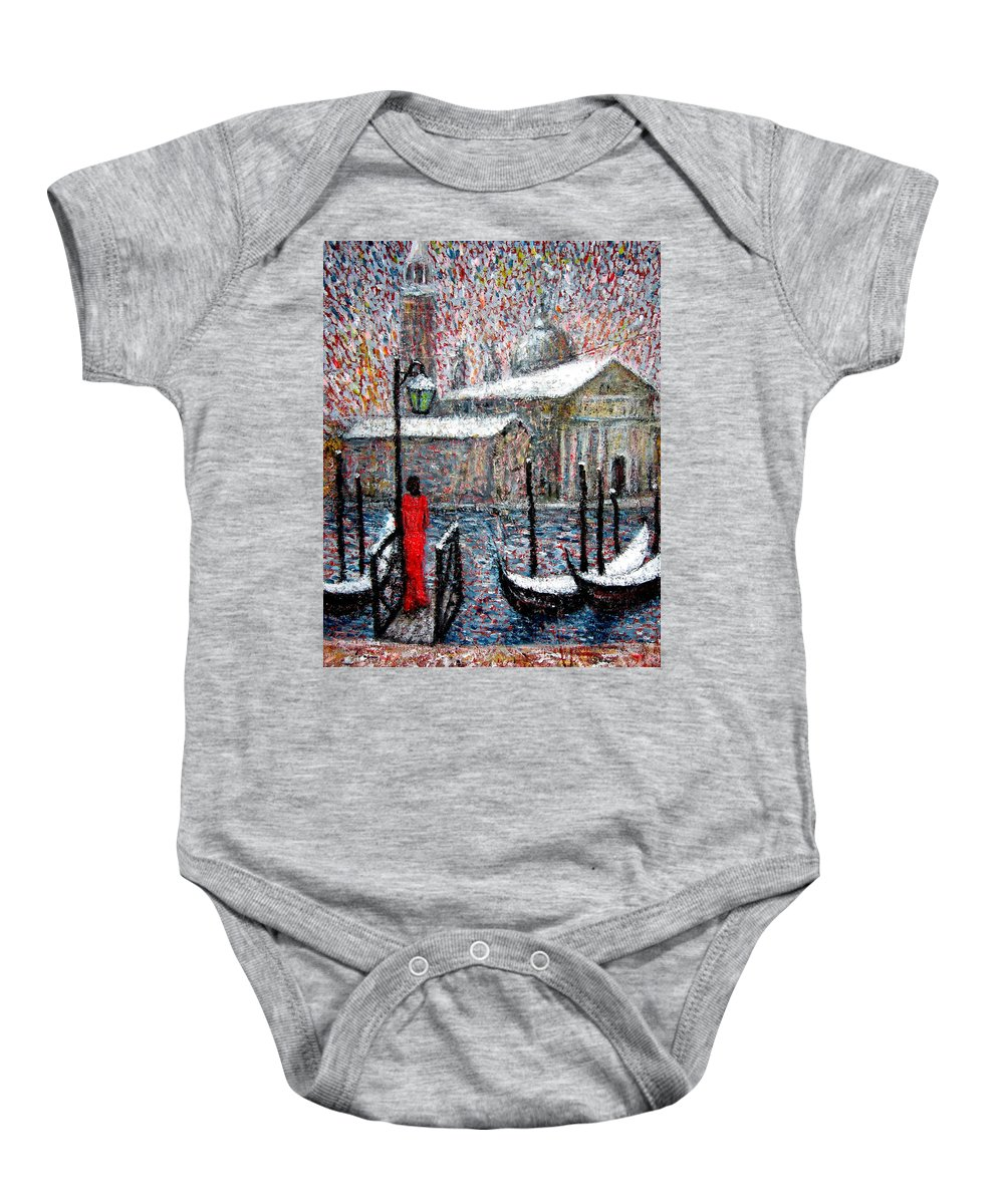 Venice Baby Onesie featuring the painting In The Snow In Venice by Riccardo Maffioli