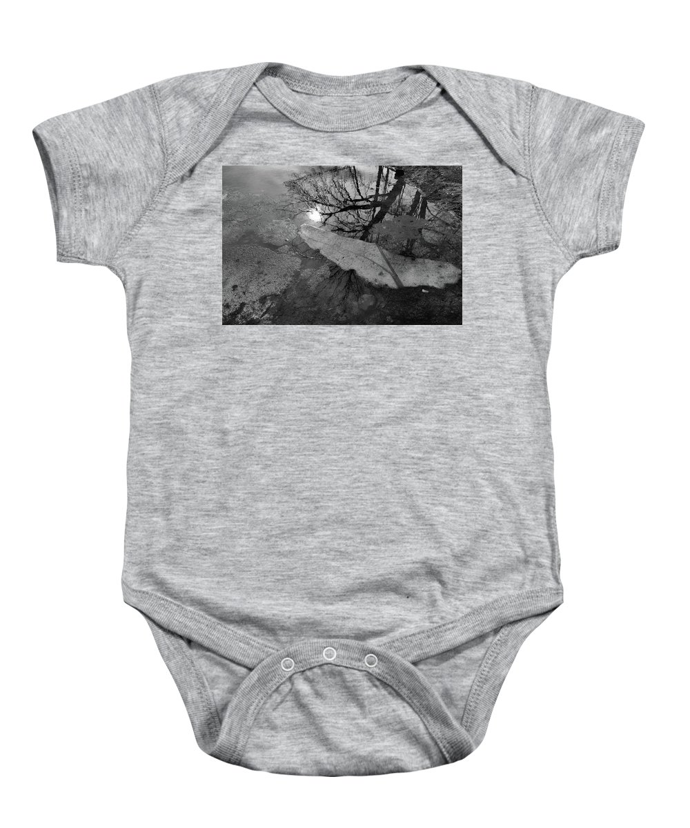 Black And White Baby Onesie featuring the photograph In The Water Bw by Lyle Crump