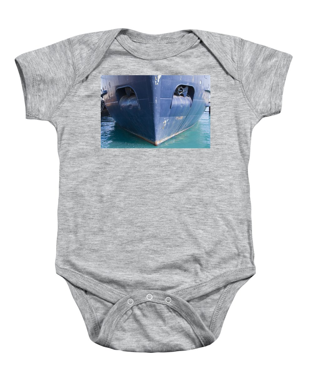 Chicago Windy City Ship Boat Lake Michigan Water Sun Sunny Blue Anchor Baby Onesie featuring the photograph In Waiting by Andrei Shliakhau