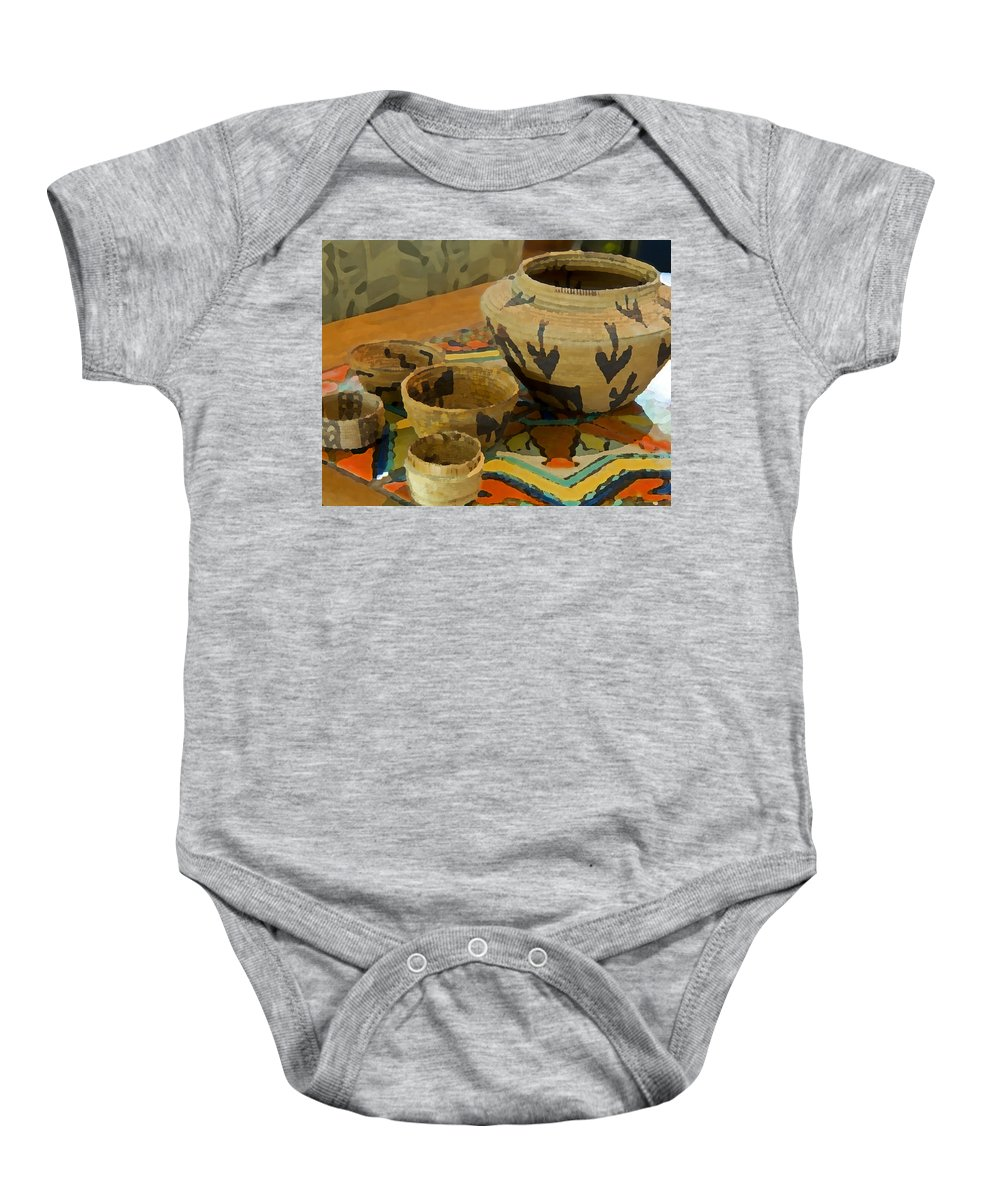 Basket Baby Onesie featuring the photograph Indian Baskets 1 by Stephen Anderson