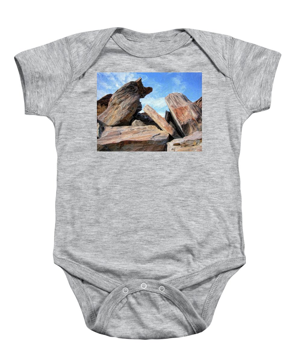 Rocks Baby Onesie featuring the painting Indian Canyon Rocks by Dominic Piperata