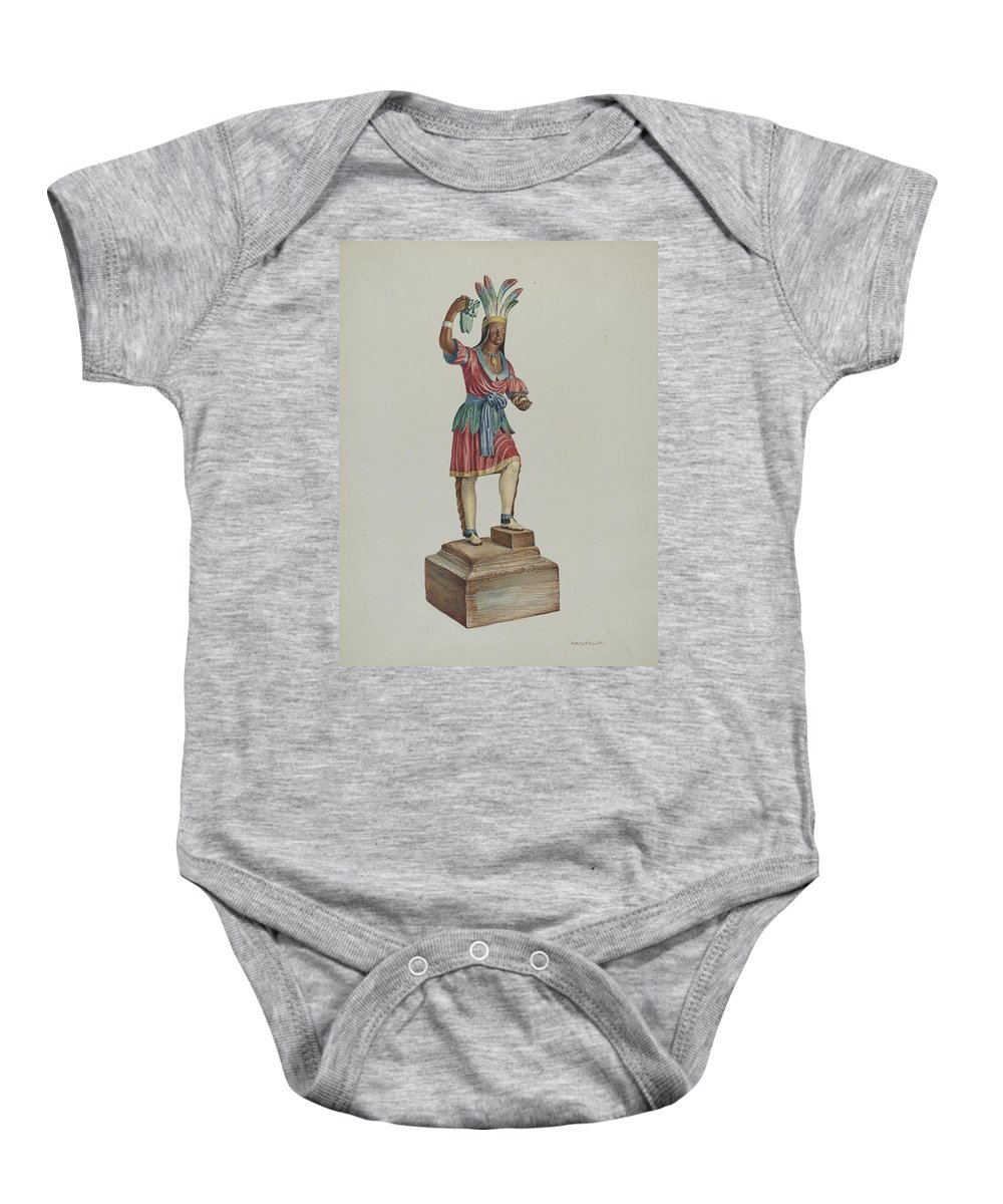 Robert W.r. Taylor Baby Onesie featuring the drawing Indian by Robert Wr Taylor