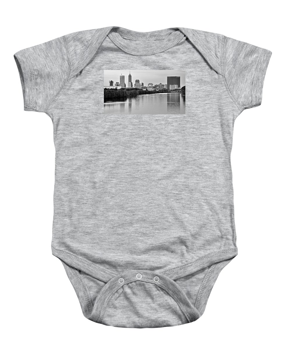 Indianapolis Baby Onesie featuring the photograph Indianapolis Charcoal Panoramic by Frozen in Time Fine Art Photography