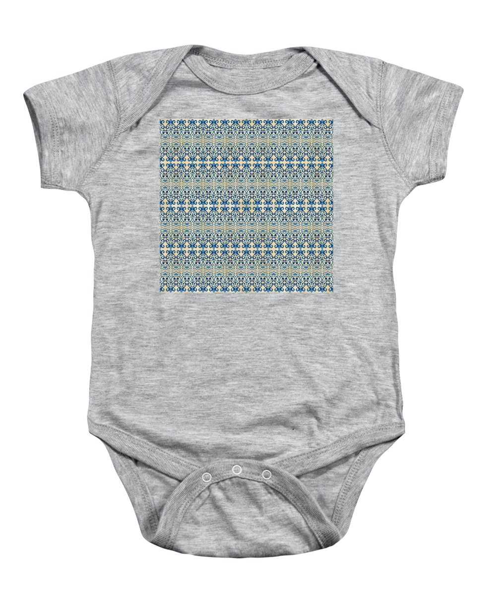 Repeat Pattern Baby Onesie featuring the painting Indigo Ocean - Caribbean Tile Inspired Watercolor Swirl Pattern by Audrey Jeanne Roberts
