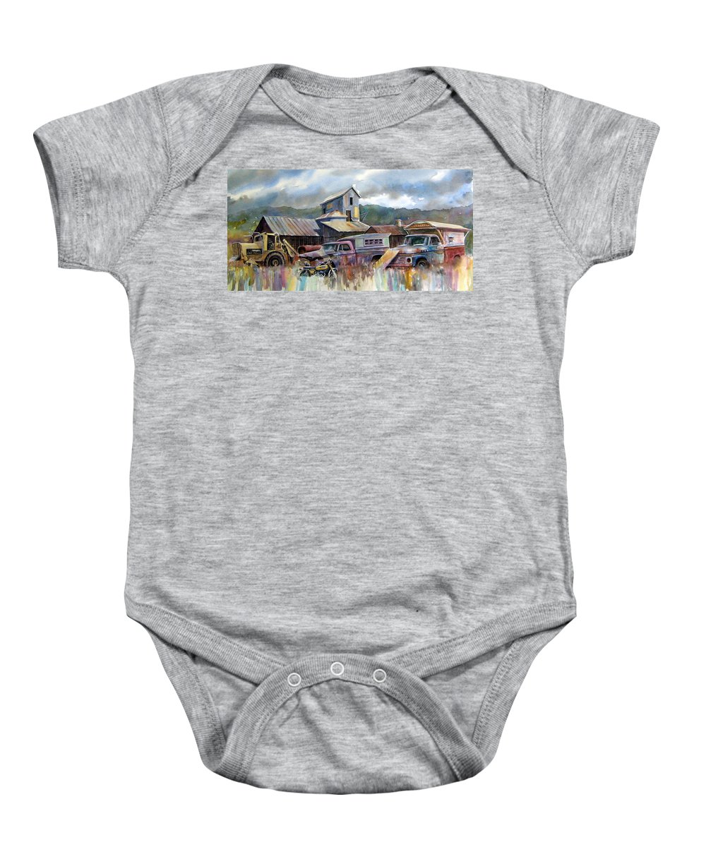 Trucks Baby Onesie featuring the painting Industrial Recreation Park by Ron Morrison