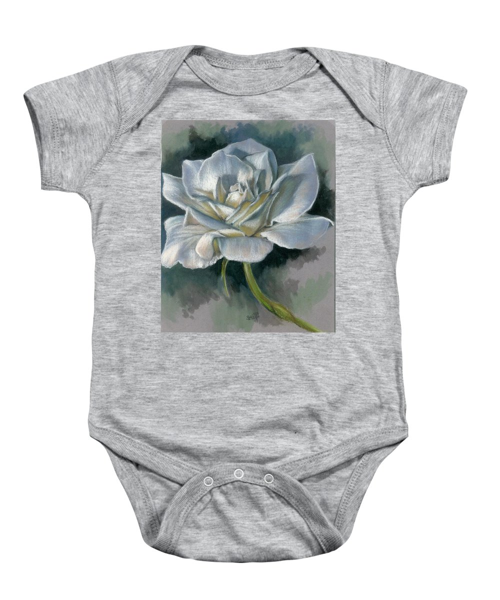 Rose Baby Onesie featuring the mixed media Innocence by Barbara Keith