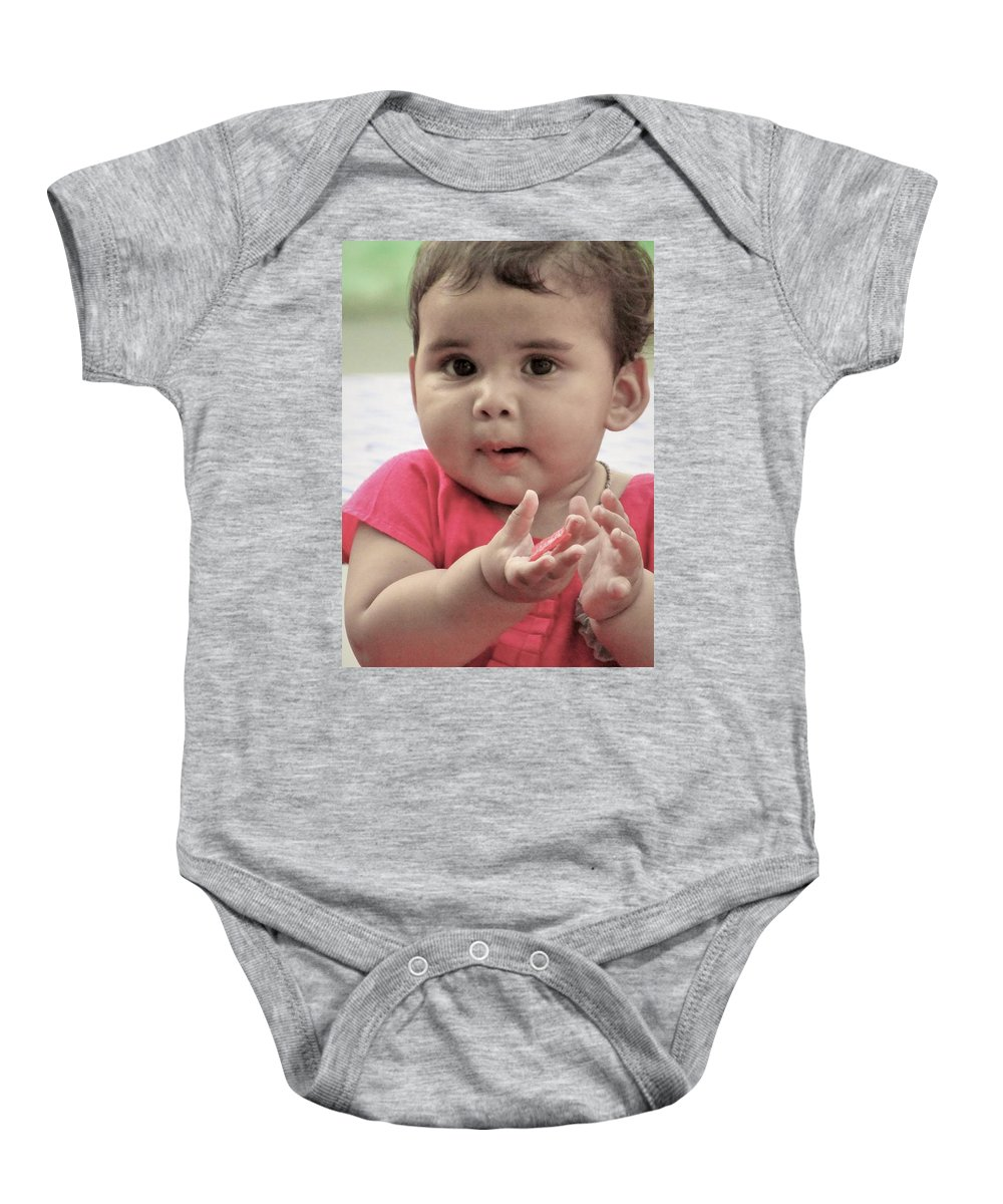 Child Baby Onesie featuring the pyrography Innocence In Eyes by Kamran Hussain