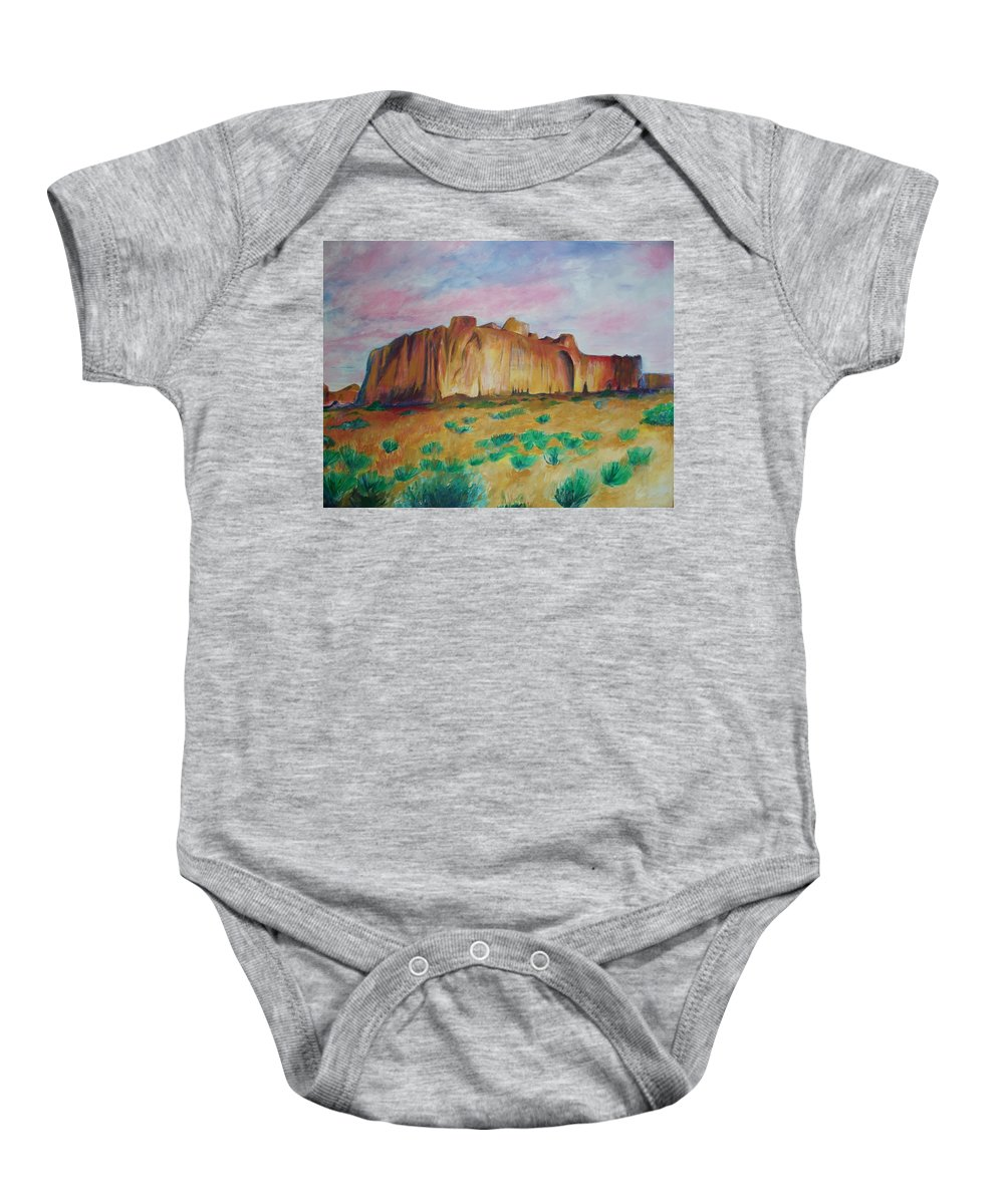 Western Landscapes Baby Onesie featuring the painting Inscription Rock by Eric Schiabor
