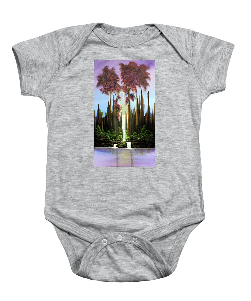 Waterfall Baby Onesie featuring the painting Inspireation Falls by Dawn Blair