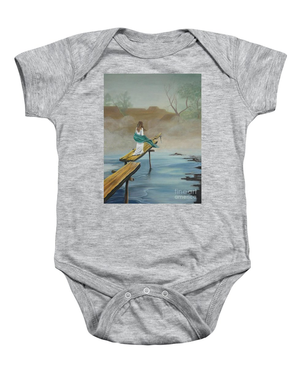 Water Baby Onesie featuring the painting Into The Mist by Kris Crollard