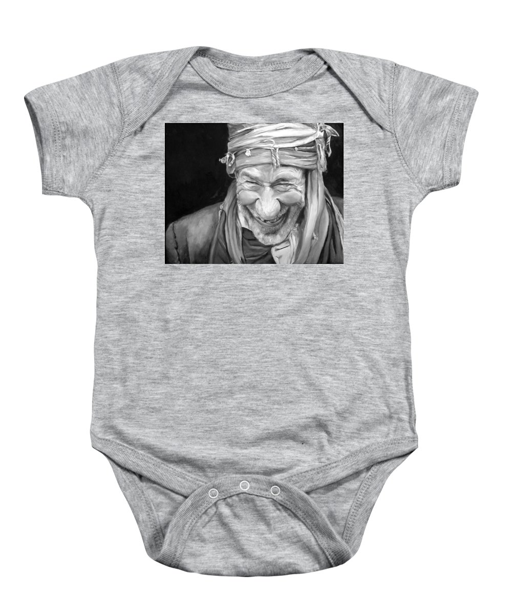 Man Baby Onesie featuring the painting Iranian Man by Portraits By NC