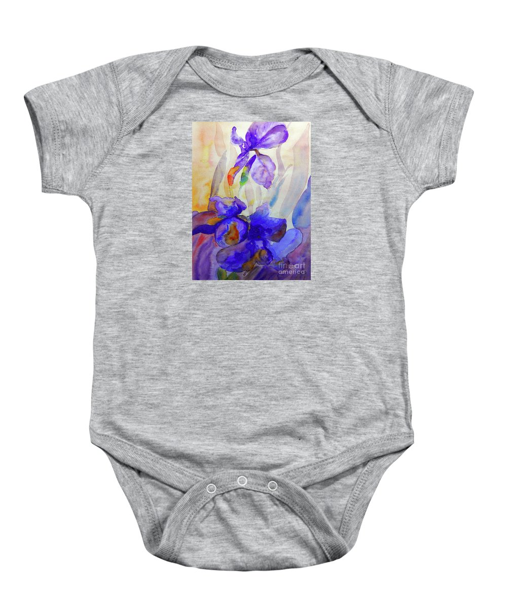 Beautiful Iris Baby Onesie featuring the painting Iris by Jasna Dragun