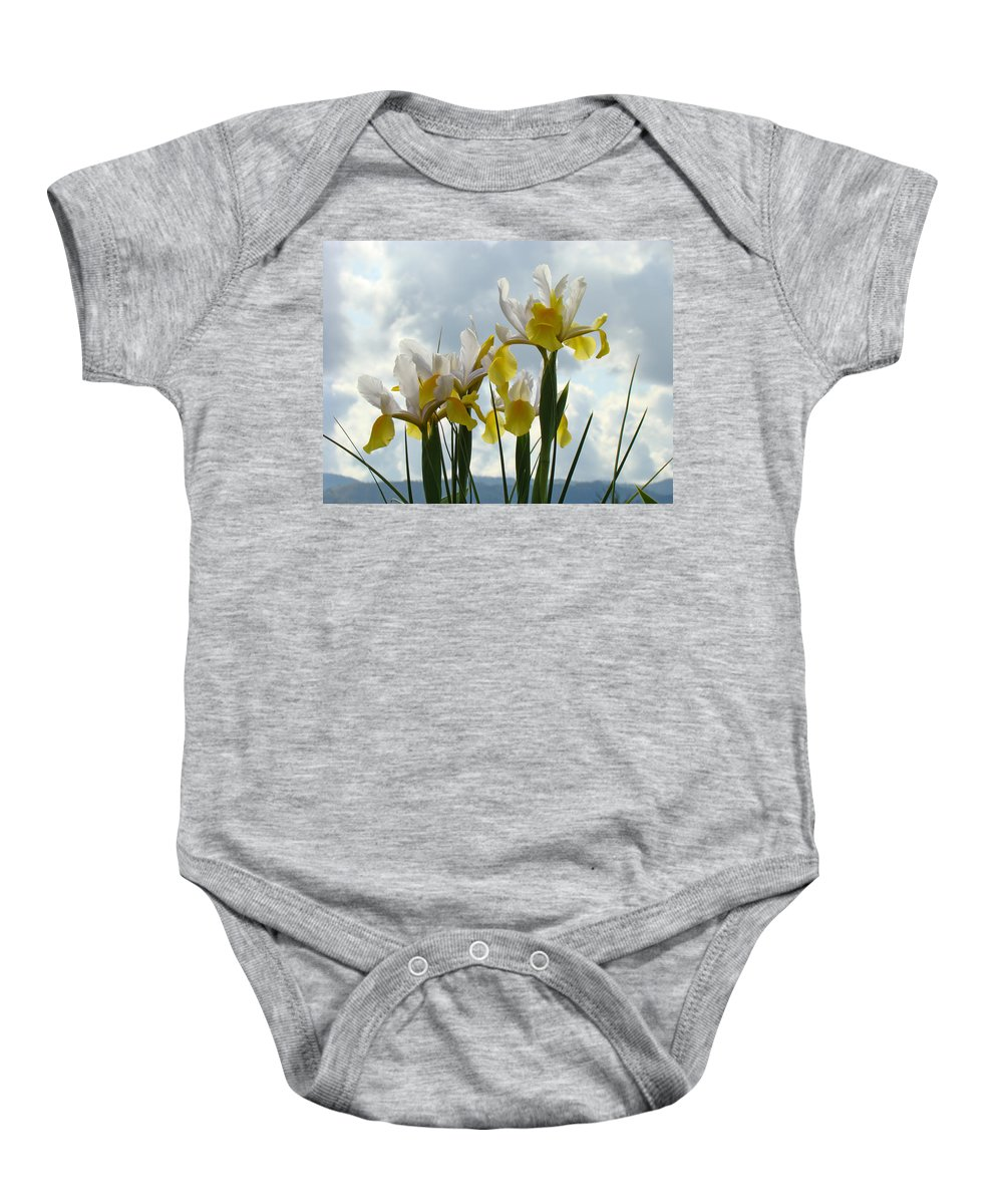 �irises Artwork� Baby Onesie featuring the photograph Irises Yellow White Iris Flowers Storm Clouds Sky Art Prints Baslee Troutman by Baslee Troutman
