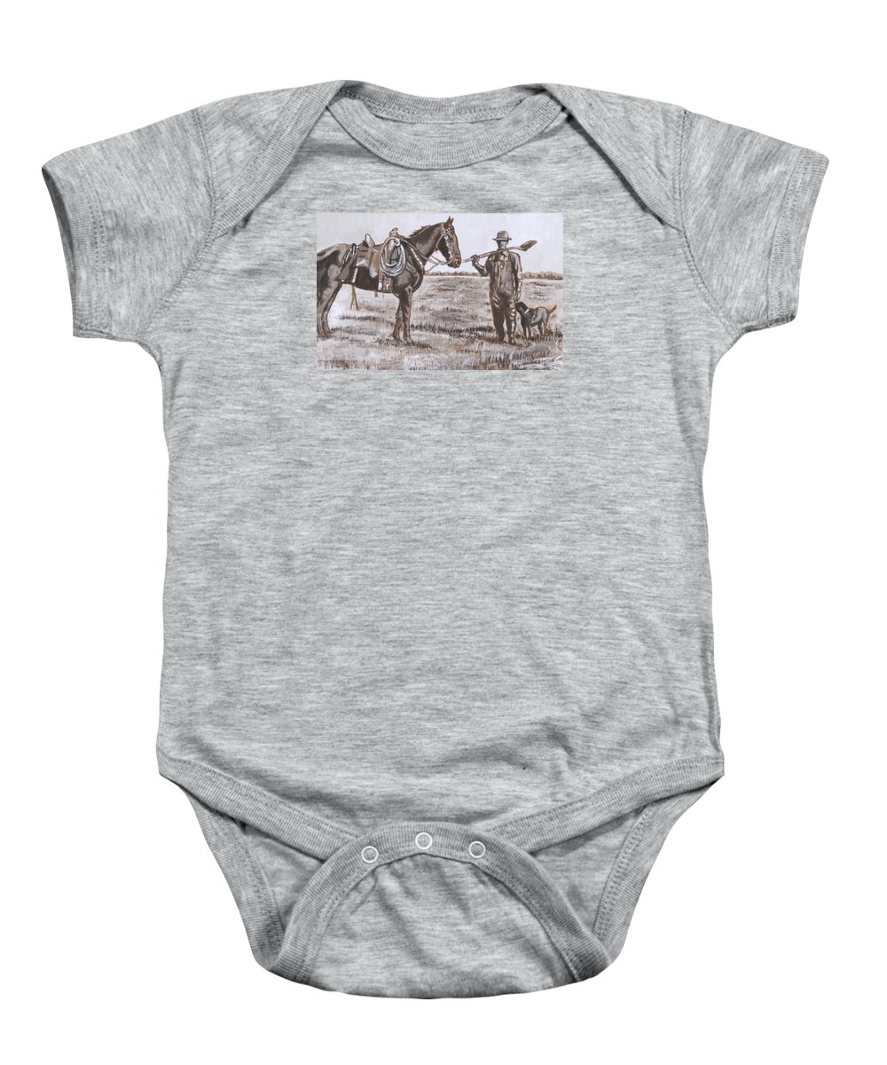 Historical Baby Onesie featuring the painting Irrigating The Hay Meadows Historical Vignette by Dawn Senior-Trask