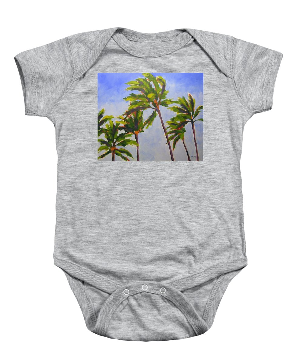 Oil Baby Onesie featuring the painting Island Palms by Mary McInnis