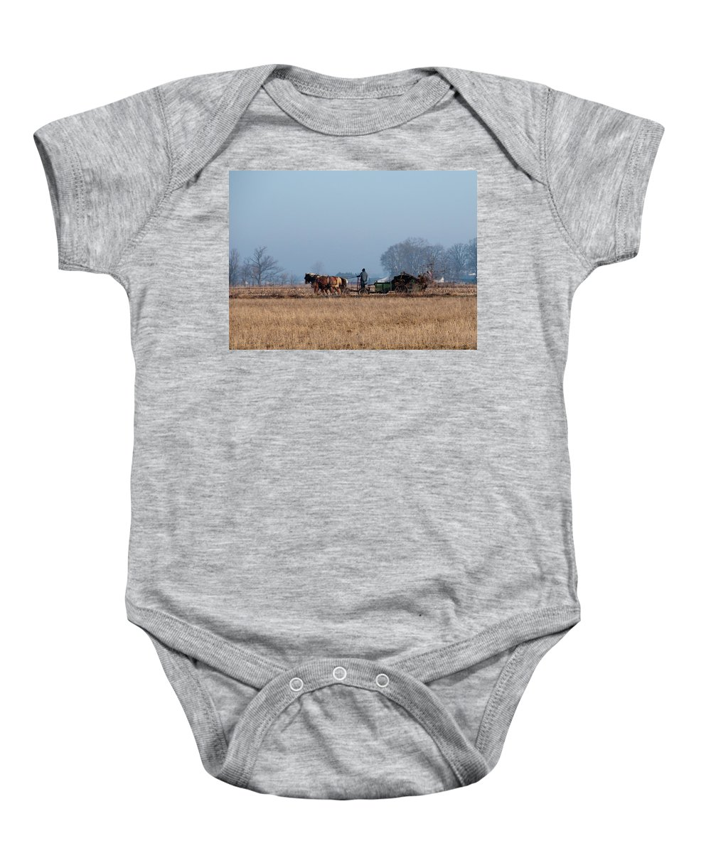 Amish Baby Onesie featuring the photograph It Bodes A Political Career by David Arment