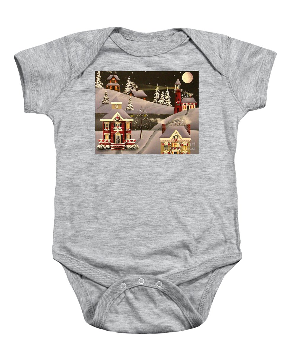 Art Baby Onesie featuring the painting It Came Upon A Midnight Clear by Catherine Holman