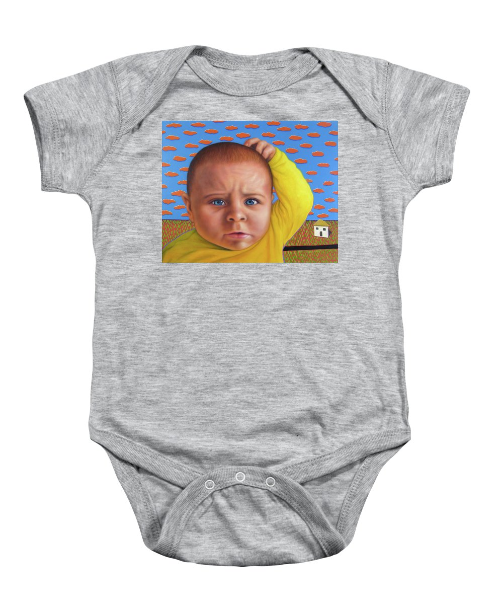 Confusing Baby Onesie featuring the painting It's A Confusing World by James W Johnson