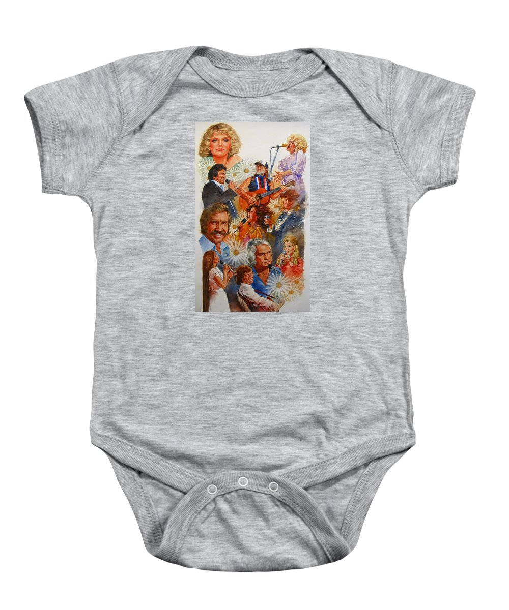 Acrylic Portrait Baby Onesie featuring the painting Its Country 1 by Cliff Spohn