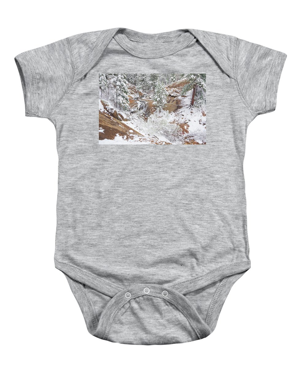 North Cheyenne Creek Baby Onesie featuring the photograph It's Mid May. We're Fast Approaching The End Of Our Snow Season. by Bijan Pirnia