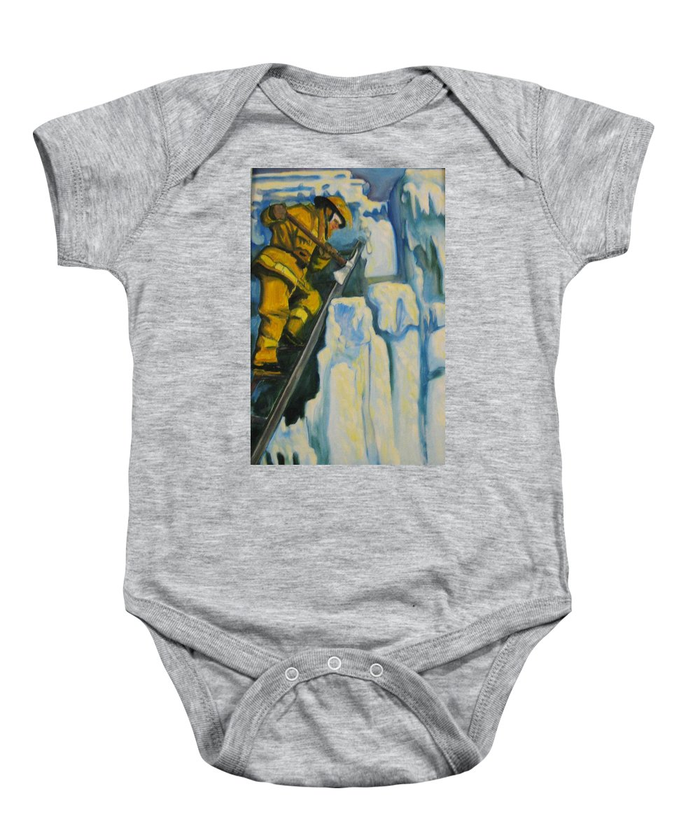 Firefighters Baby Onesie featuring the painting Its Not Over Till Its Over by John Malone
